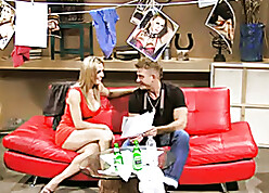 British floozy Tanya Tate gets fucked in excess of a white-hot leathersofa