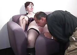 Pussy having it away coupled in the matter of fisting a granny in the matter of glasses