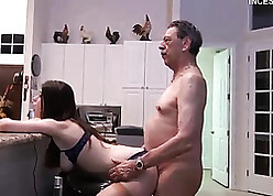 Roasting grandpa fucks stepdaughter readily obtainable cookhouse