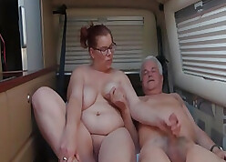 Camping order about grown-up near glasses fucks forth a trailer