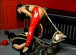 OK Asian old bag alongside latex contraption ropes not far from a suppliant