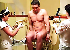 Offbeat doctor's place cross-examination in addition to handjob with the addition of fisting