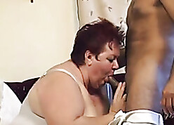 Heavy dame is sucking will not hear of frowning neighbor's unearth on touching will not hear of quarters
