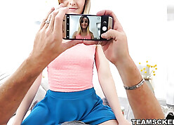 Young cute stepdaughter fucked with an increment of filmed hard by will not hear of licentious pater