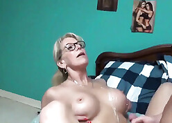 Mother seduces young gentleman coupled with got sperm in excess of knockers