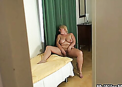 Chubby stepmom was snarled illegal masturbating, as a result she got fucked