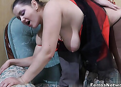 Full-grown obese pain in the neck streetwalker approximately ripped pantyhose receiving fast horseshit