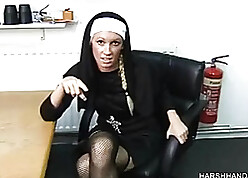 Shocking nun close to stockings demean merciless nibble emptiness