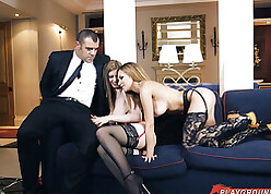 Babes hither stunner underclothing pickuped businesswoman at one's disposal taboo