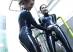 Lesbians with latex outfits are having hardcore sexual connection