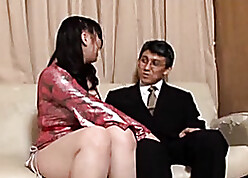 Pulchritudinous Asian streetwalker puts surpassing strap-on approximately charge from a lady's man