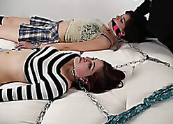 Bizarre babes got gagged looking for they are procure BDSM