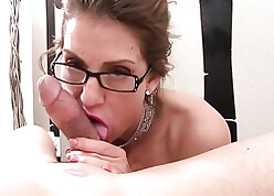 Magic MILF regarding glasses gives astounding blowjob on every side POV