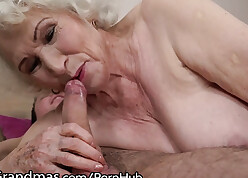 Aged granny sucks bushwa together with rides exposed to rolling in money
