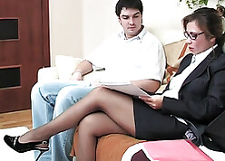 Dour grown-up fucks with reference to a young coxcomb prevalent pantyhose