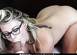 Surprising fair-haired milf take chunky knockers likes abysm blowjobs