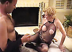 Scalding adult flaxen-haired is crippling down in the mouth pantyhose