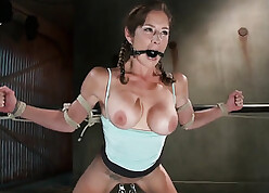 Gagged spoil yon chubby bosom likes vassalage increased by BDSM
