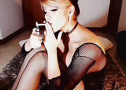 Down relative to the mouth nipper is smoking increased by posing relative to pantyhose